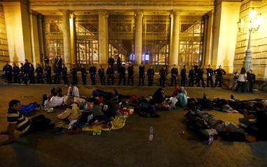 Refugees camp in front of the Keleti train station in Budapest