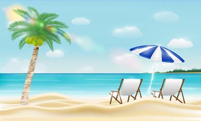 relax beach chair on a sea sand beach