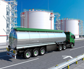Fuel truck and vertical steel tanks
