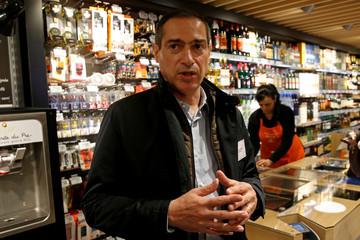 Franprix stores chain managing Director Jean-Paul Mochet speaks to journalists in Paris