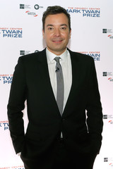 Comedian and television host Jimmy Fallon arrives on the red carpet for the taping of the Mark Twain Prize for Humor ceremony and performance at the Kennedy Center in Washington