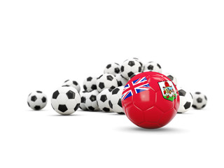 Football with flag of bermuda isolated on white