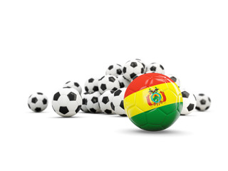 Football with flag of bolivia isolated on white