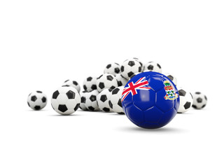 Football with flag of cayman islands isolated on white