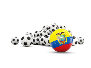 Football with flag of ecuador isolated on white