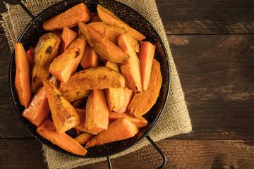 Overhead photo of roasted sweet potatoes in pan