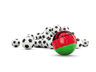 Football with flag of malawi isolated on white