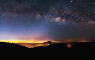 Milky way before sunrise at Chiangmai province, Thailand