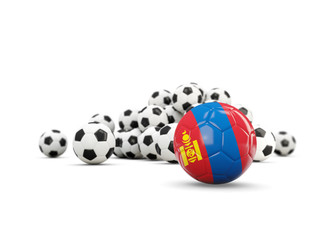 Football with flag of mongolia isolated on white