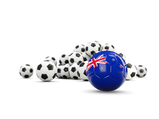 Football with flag of new zealand isolated on white