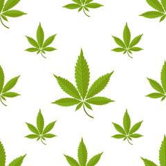 Seamless pattern with marijuana leaf