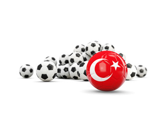 Football with flag of turkey isolated on white