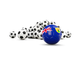 Football with flag of turks and caicos islands isolated on white