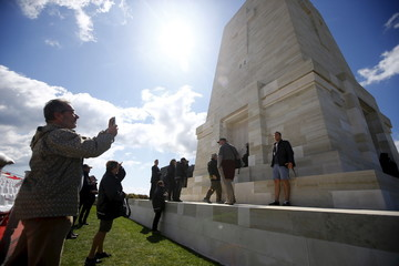 Visitors from Australia and New Zealand visit the Lone Pine Australian memorial in Gallipoli