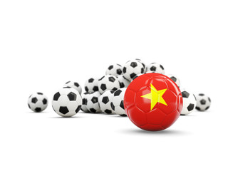 Football with flag of vietnam isolated on white