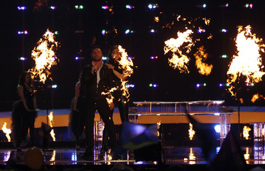 "Paula Seling and Ovi from Romania perform their song ""Playing With Fire"" during semi-final two of the Eurovision Song Contest in Oslo"