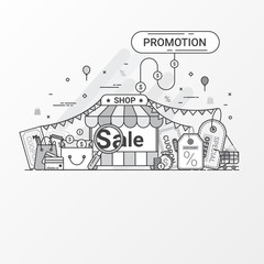 Promotion for sale concept. This set contains icon elements, coupon, discount label, online store, shop, shopping bag, credit card, search, price tag, special offers. Flat line style create by vector.