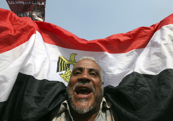 A supporter of the Muslim Brotherhood's presidential candidate Mohamed Morsy holds the flag of Egypt as he celebrates at Tahrir square in Cairo