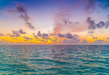Acrylic Prints North Sea Beautiful sunset with sky over calm sea in tropical Maldives island .