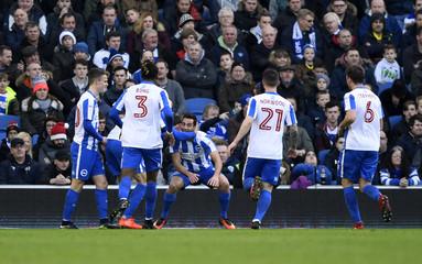 Brighton's Sam Baldock celebrates scoring their first goal