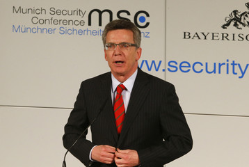 German Defence Minister Thomas de Maiziere gives a speech during the opening of the 49th Conference on Security Policy in Munich