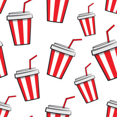 Seamless pattern with cartoon cups of soda on a white background