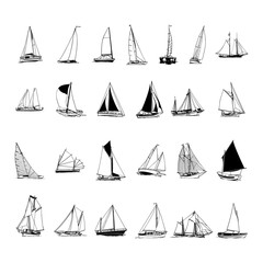 sailboat collection. cartoon clipart Vector Illustration.
