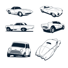 classic cars collection set. Vector Illustration.