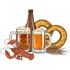 Set of beer glasses, bottle and crayfish, sketch vintage style. Vector