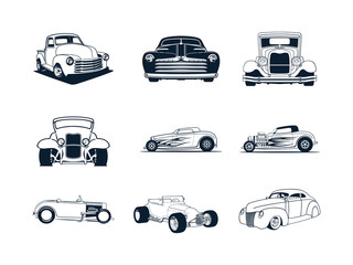 Papiers peints Cartoon voitures classic cars collection. vector illustration set