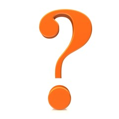 question mark 3d interrogation point punctuation mark orange asking sign isolated on white background in high resolution for business and print