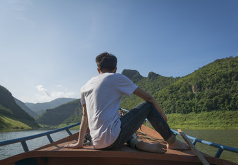 rest in the nature of maeping river in thailand