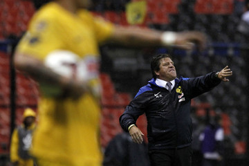 Herrera, coach of America, reacts during their CONCACAF Champions League soccer match against Alajuelense at Azteca stadium in Mexico City