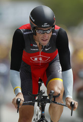 Radioshack team rider Lance Armstrong of the U.S. cycles during the individual time-trial 19th stage of the Tour de France cycling race between Bordeaux and Pauillac