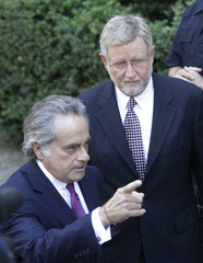 Benjamin Brafman and William Taylor speak to the media after a hearing at the New York State Supreme Courthouse in New York