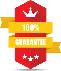 Guarantee Red Shield With Colorful Ribbon Label, Sticker, Tag, Sign And Icon Banner Business Concept, Design Modern With Crown.