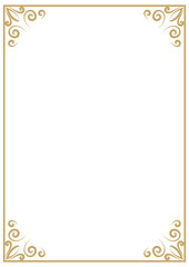 vector vintage a4 gold frame isolated on white background. Border, divider for your design menu, website, certificate and other documents