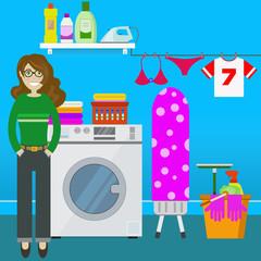 Femme au foyer devant machine à laver et linge - Illustration vecteur