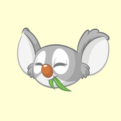 Cartoon koala head icon. Vector illustration of cute koala face with leaf of eucalyptus tree