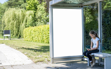 Bus stop billboard or outdoor abri advertising mockup