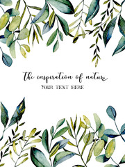 Template postcard with eucalyptus branches and other green plants watercolor illustration, hand drawn on a white background, for invitation, card decoration, other works, wedding design, greeting card