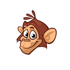 Cartoon monkey head smiling icon. Vector isolated