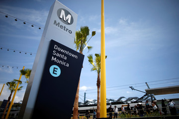 The Downtown Santa Monica station is seen on L.A. Metro's new $1.5 billion Expo Line extension that connects downtown to the beach for the first time in 63 years, in Santa Monica