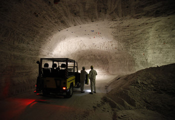 Employees stand in a pilot mine which is being tested for potential use as a permanent nuclear waste storage facility in Gorleben