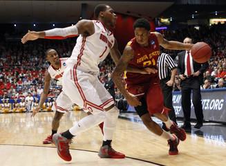 Ohio State Buckeyes forward Thomas guards Iowa State Cyclones guard Clyburn during their third round NCAA tournament basketball game in Dayton