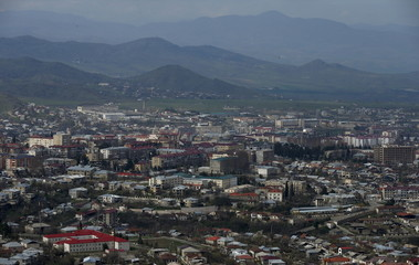 A general view shows a Nagorno Karabakh's main city of Stepanakert