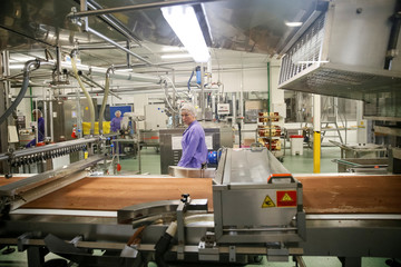 An employee works at the Roshen confectionery factory in Vinnytsia