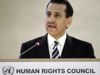 Saudi Arabia's Human Rights Commission Chairman Al-Aiban addresses the High-Level Segment of the 13th session of the Human Rights Council  in Geneva