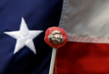 The image of U.S. Democratic presidential candidate Hillary Clinton is seen painted on a lollipop created by artist John Kettman in LaSalle