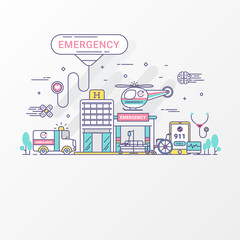 Emergency concept. Set of hospital and healthcare contains icon elements, ambulance, siren-equipped car, Helicopter. Flat line style create by vector. For healthcare banner, hospital leaflet.